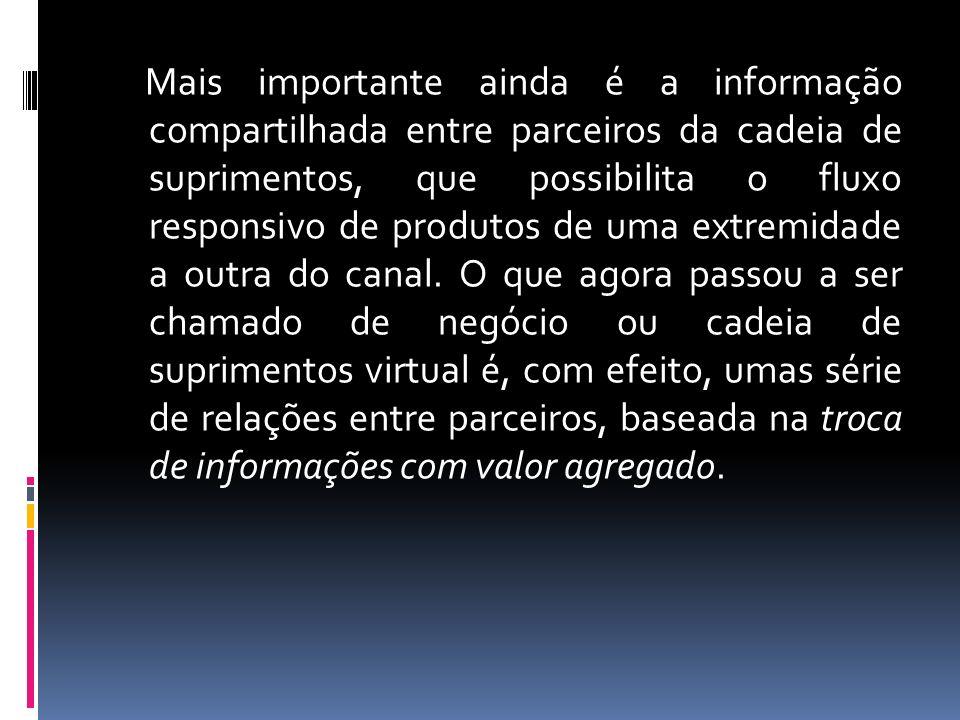 Mais importante ainda é a informação compartilhada entre parceiros da cadeia de suprimentos, que possibilita o fluxo responsivo de produtos de uma extremidade a outra do canal.