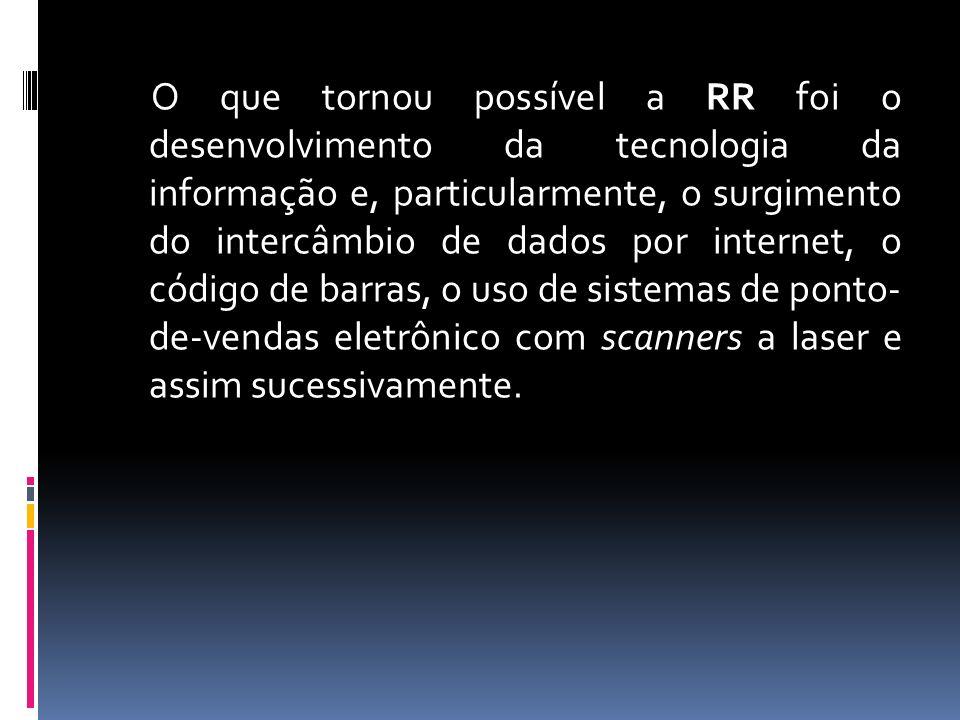 O que tornou possível a RR foi o desenvolvimento da tecnologia da informação e, particularmente, o surgimento do intercâmbio de dados por internet, o código de barras, o uso de sistemas de ponto- de-vendas eletrônico com scanners a laser e assim sucessivamente.