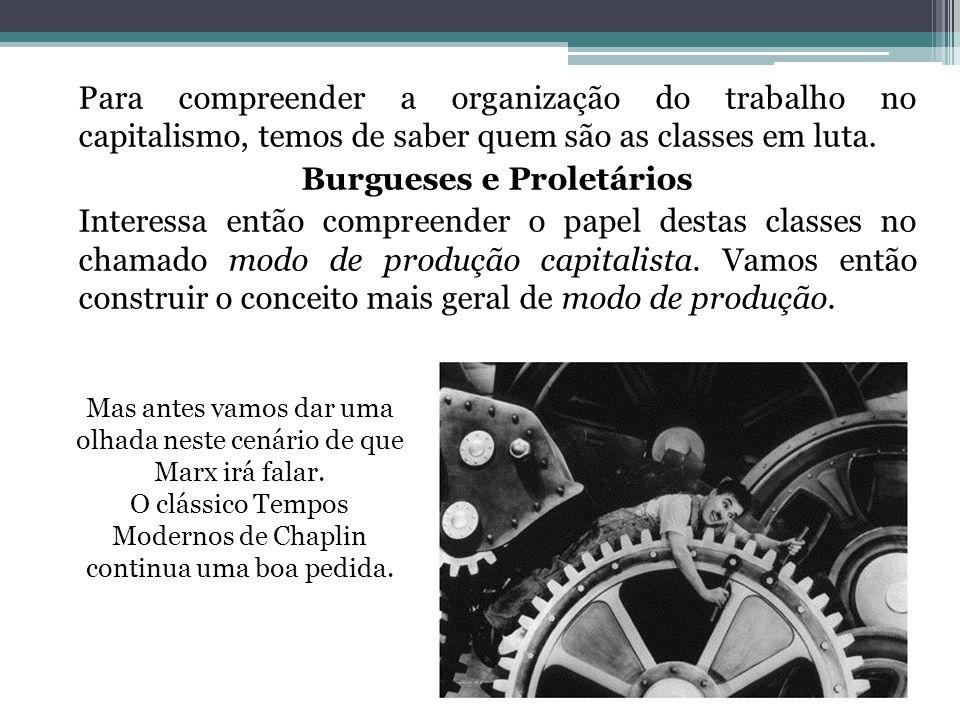 Para compreender a organização do trabalho no capitalismo, temos de saber quem são as classes em luta. Burgueses e Proletários Interessa então compreender o papel destas classes no chamado modo de produção capitalista. Vamos então construir o conceito mais geral de modo de produção.