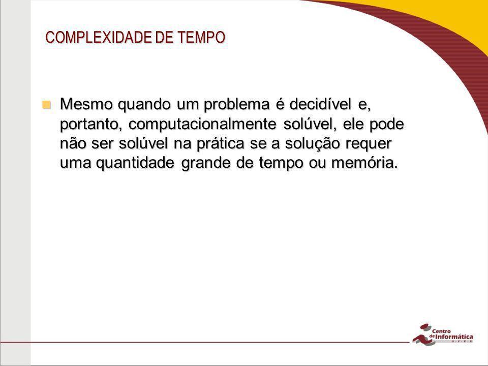 COMPLEXIDADE DE TEMPO