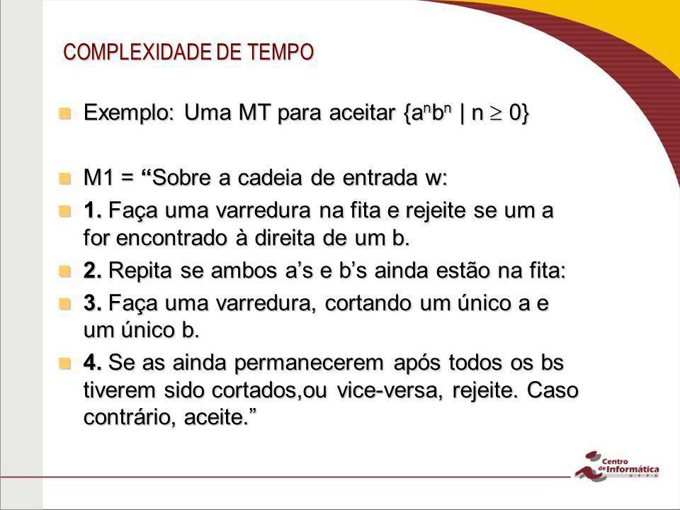COMPLEXIDADE DE TEMPO Exemplo: Uma MT para aceitar {anbn | n  0} M1 = Sobre a cadeia de entrada w:
