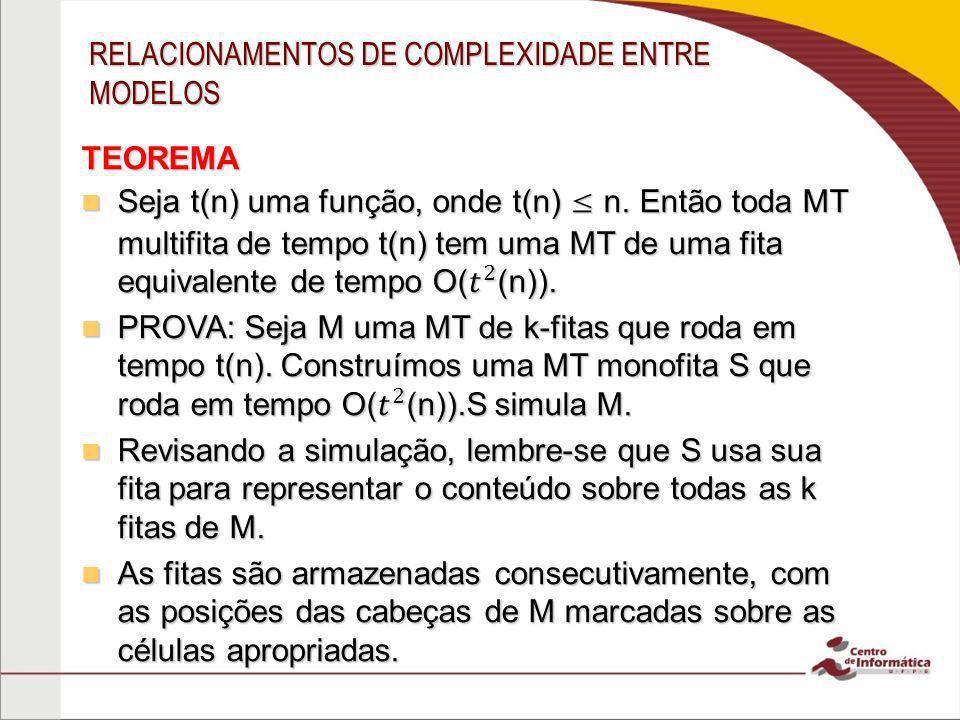 RELACIONAMENTOS DE COMPLEXIDADE ENTRE MODELOS