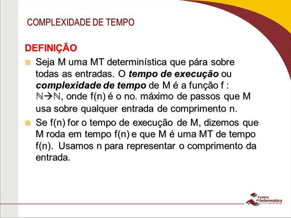 COMPLEXIDADE DE TEMPO DEFINIÇÃO.
