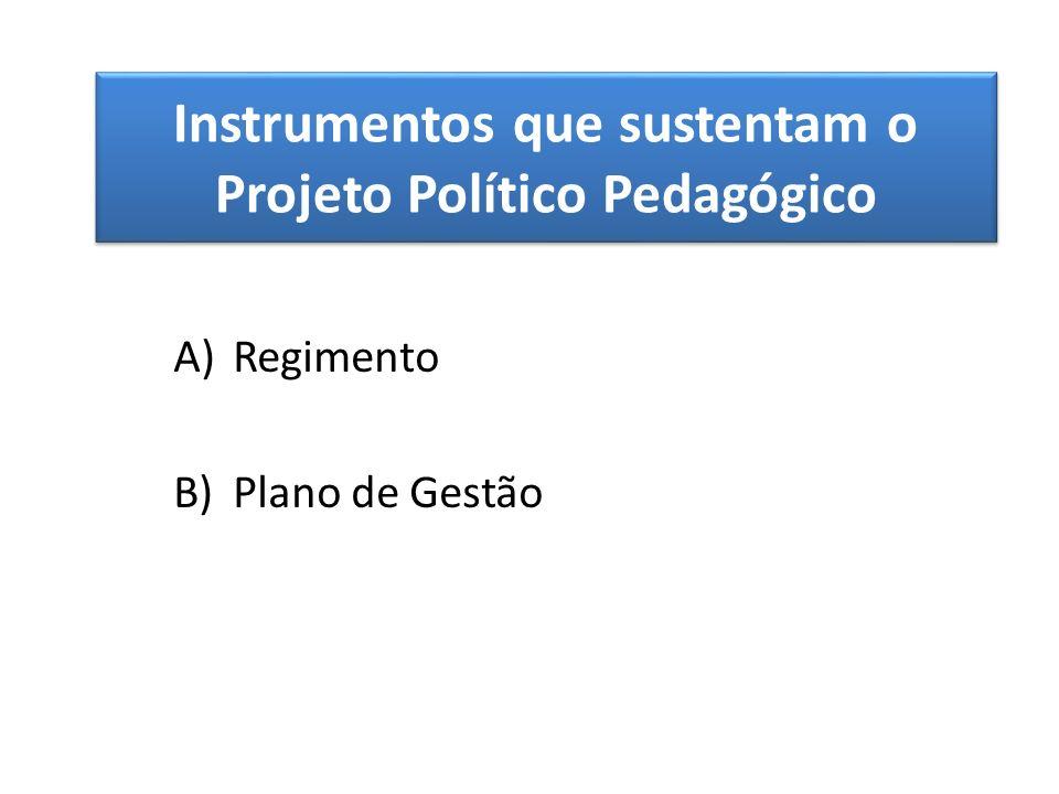 Instrumentos que sustentam o Projeto Político Pedagógico