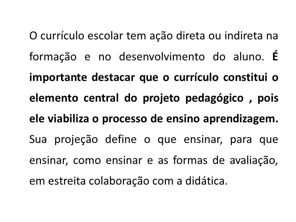 O currículo escolar tem ação direta ou indireta na formação e no desenvolvimento do aluno.
