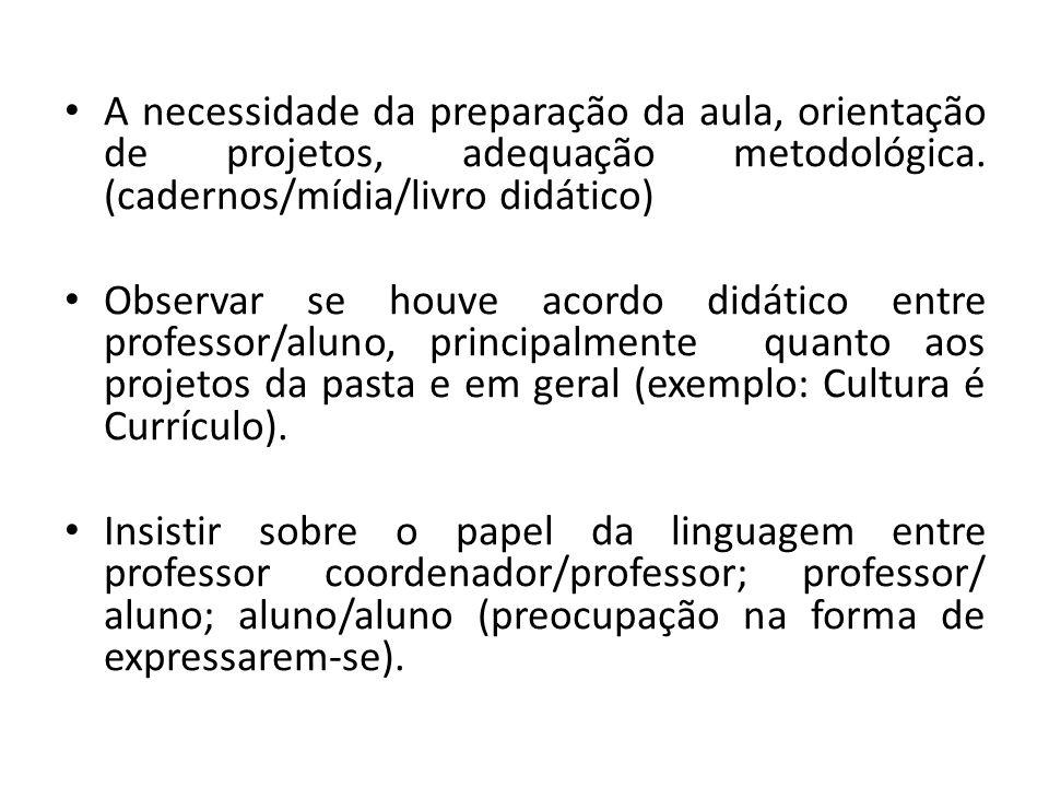 A necessidade da preparação da aula, orientação de projetos, adequação metodológica. (cadernos/mídia/livro didático)