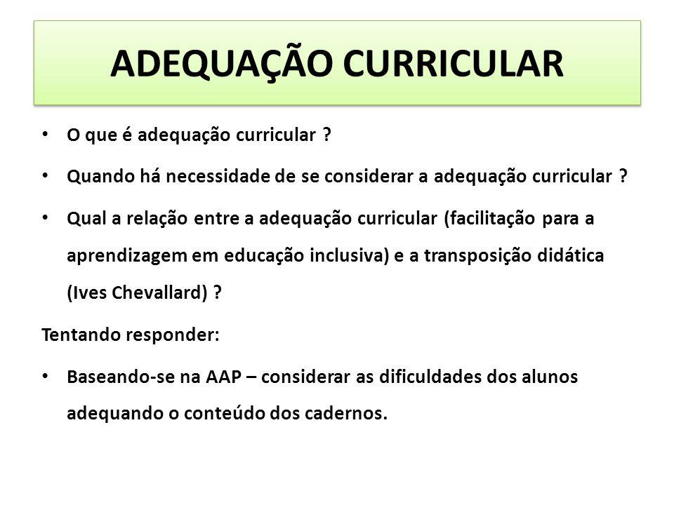 ADEQUAÇÃO CURRICULAR O que é adequação curricular