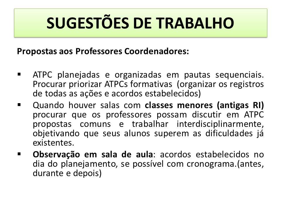 SUGESTÕES DE TRABALHO Propostas aos Professores Coordenadores: