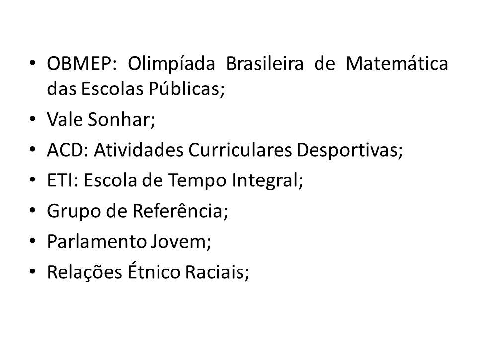 OBMEP: Olimpíada Brasileira de Matemática das Escolas Públicas;