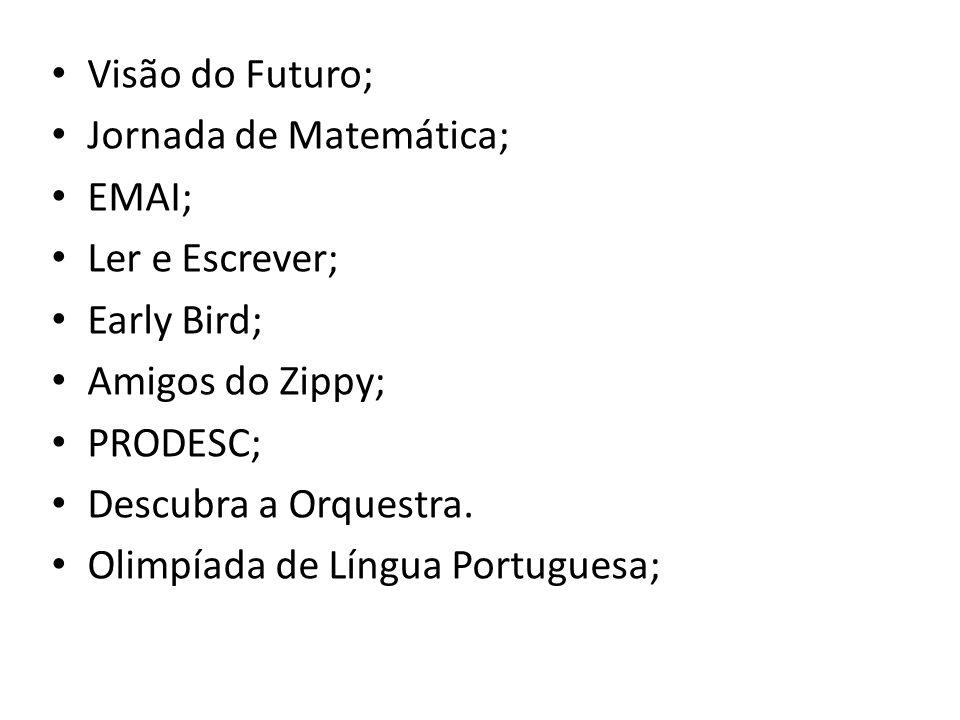 Visão do Futuro; Jornada de Matemática; EMAI; Ler e Escrever; Early Bird; Amigos do Zippy; PRODESC;