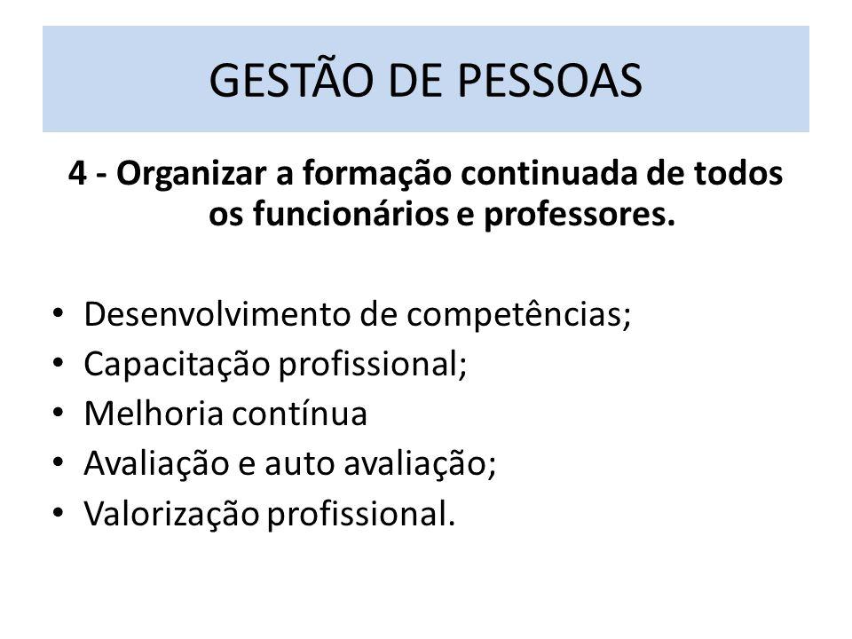 GESTÃO DE PESSOAS 4 - Organizar a formação continuada de todos os funcionários e professores. Desenvolvimento de competências;