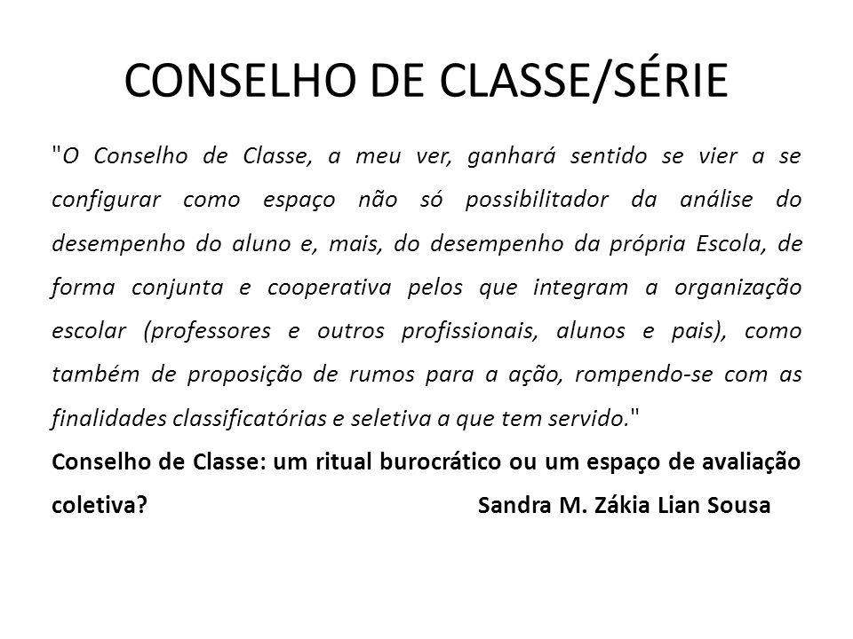 CONSELHO DE CLASSE/SÉRIE