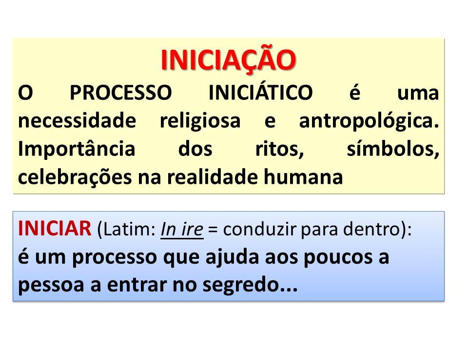 INICIAÇÃO O PROCESSO INICIÁTICO é uma necessidade religiosa e antropológica. Importância dos ritos, símbolos, celebrações na realidade humana.