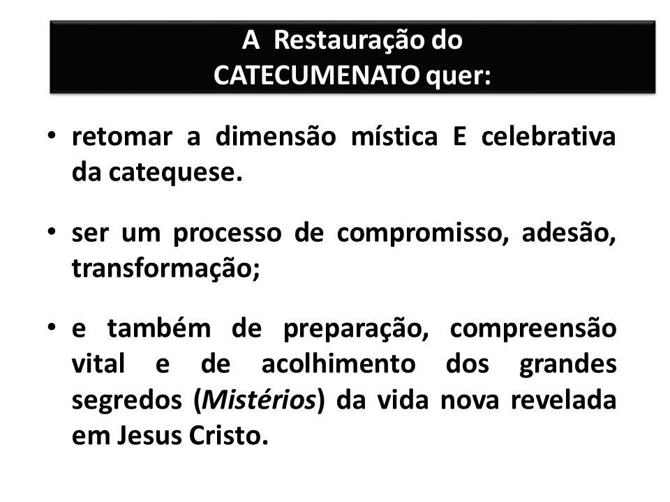 A Restauração do CATECUMENATO quer: