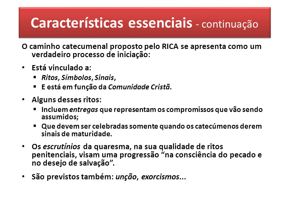 Características essenciais - continuação