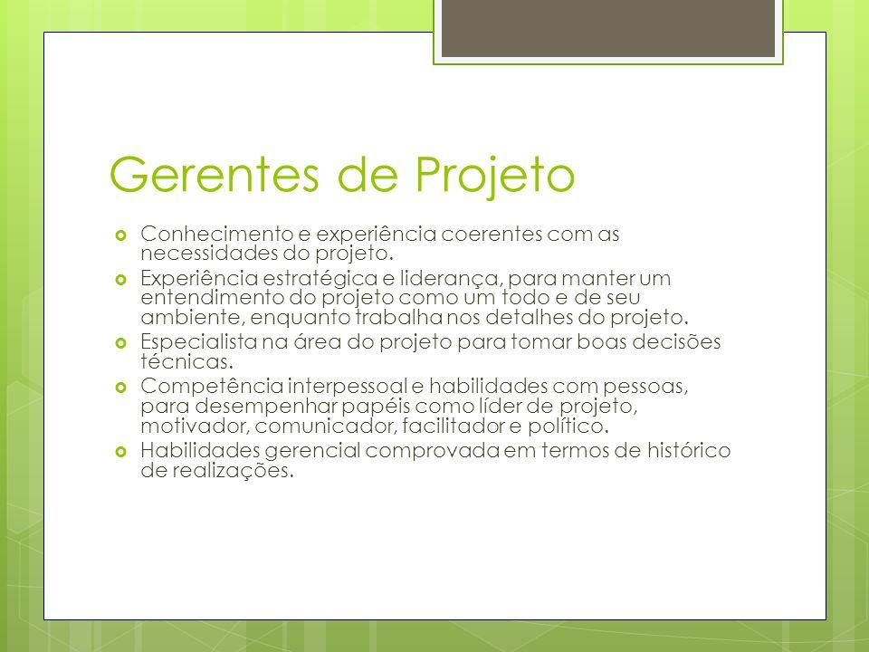 Gerentes de Projeto Conhecimento e experiência coerentes com as necessidades do projeto.
