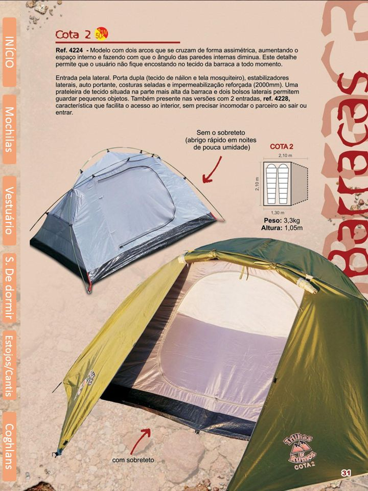 INÍCIO Mochilas Vestuário S. De dormir Estojos/Cantis Coghlans