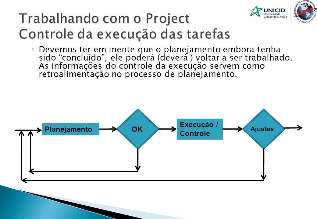 Trabalhando com o Project Controle da execução das tarefas