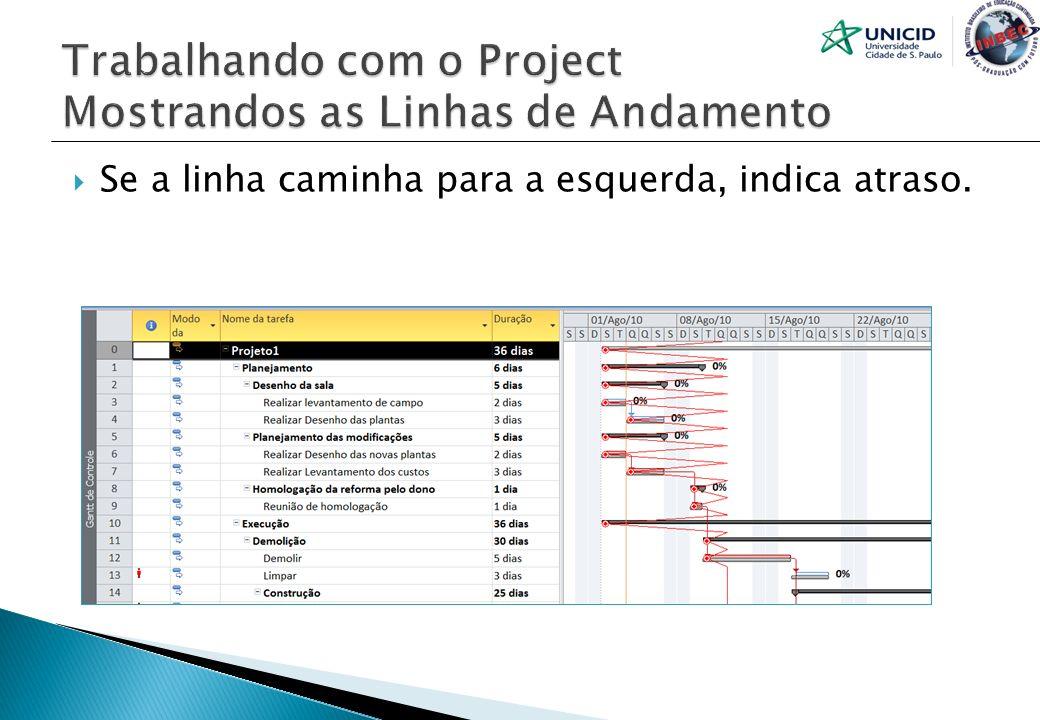 Trabalhando com o Project Mostrandos as Linhas de Andamento