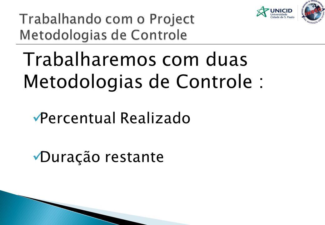 Trabalhando com o Project Metodologias de Controle