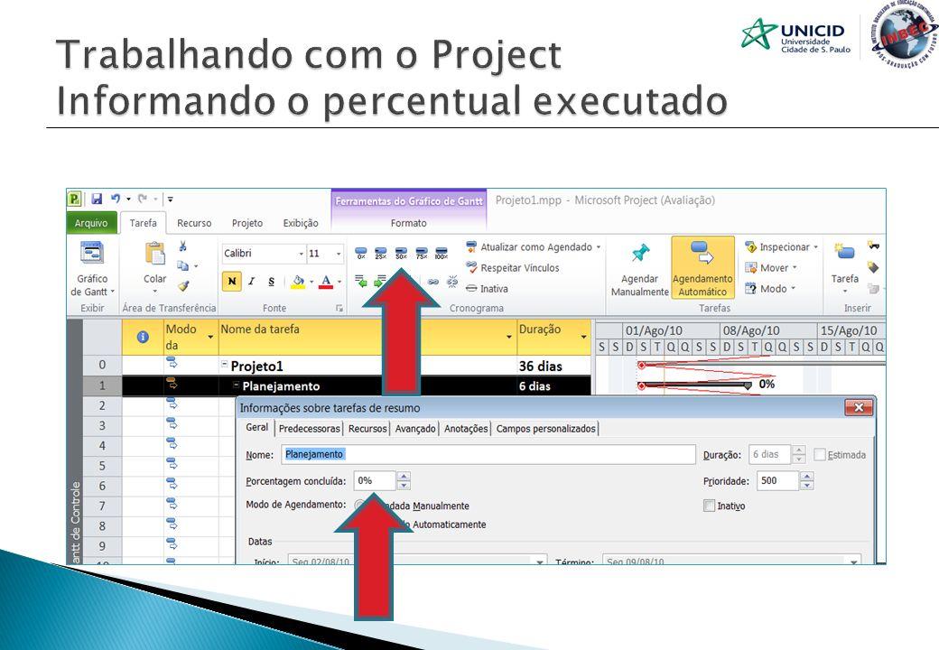Trabalhando com o Project Informando o percentual executado