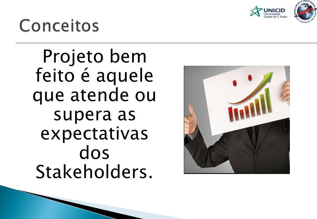 Conceitos Projeto bem feito é aquele que atende ou supera as expectativas dos Stakeholders.