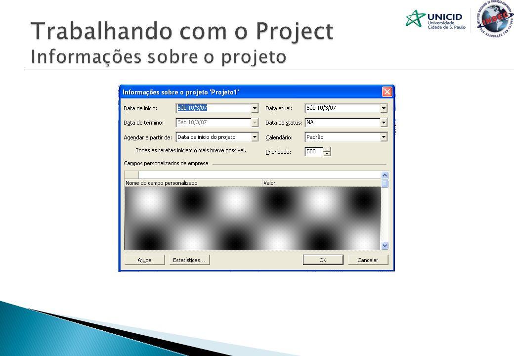 Trabalhando com o Project Informações sobre o projeto