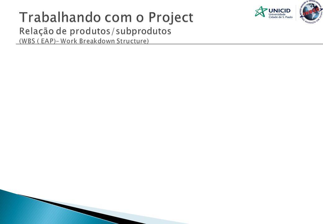 Trabalhando com o Project Relação de produtos/subprodutos (WBS ( EAP)– Work Breakdown Structure)