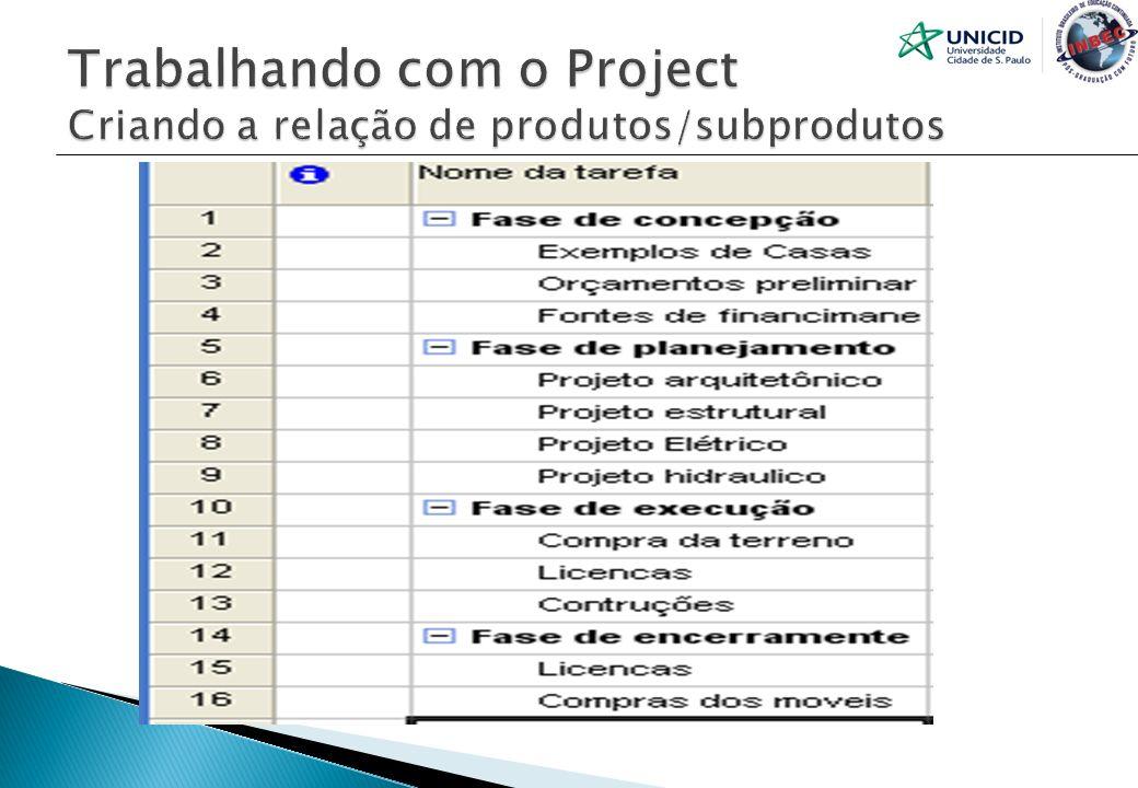 Trabalhando com o Project Criando a relação de produtos/subprodutos