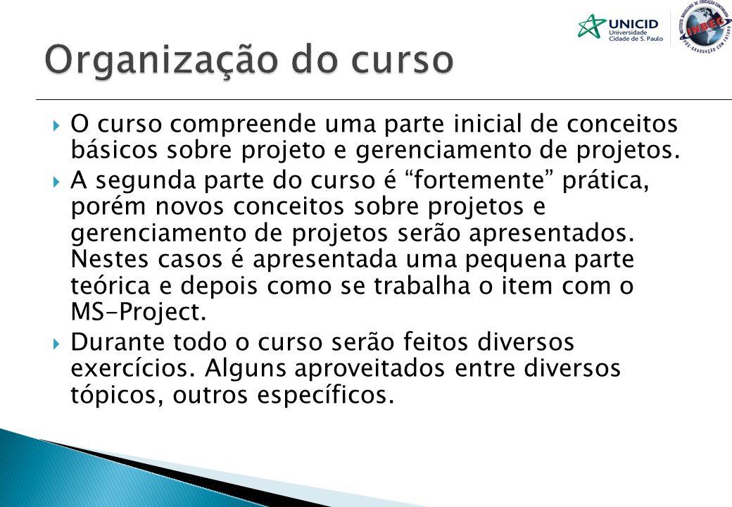 Organização do curso O curso compreende uma parte inicial de conceitos básicos sobre projeto e gerenciamento de projetos.