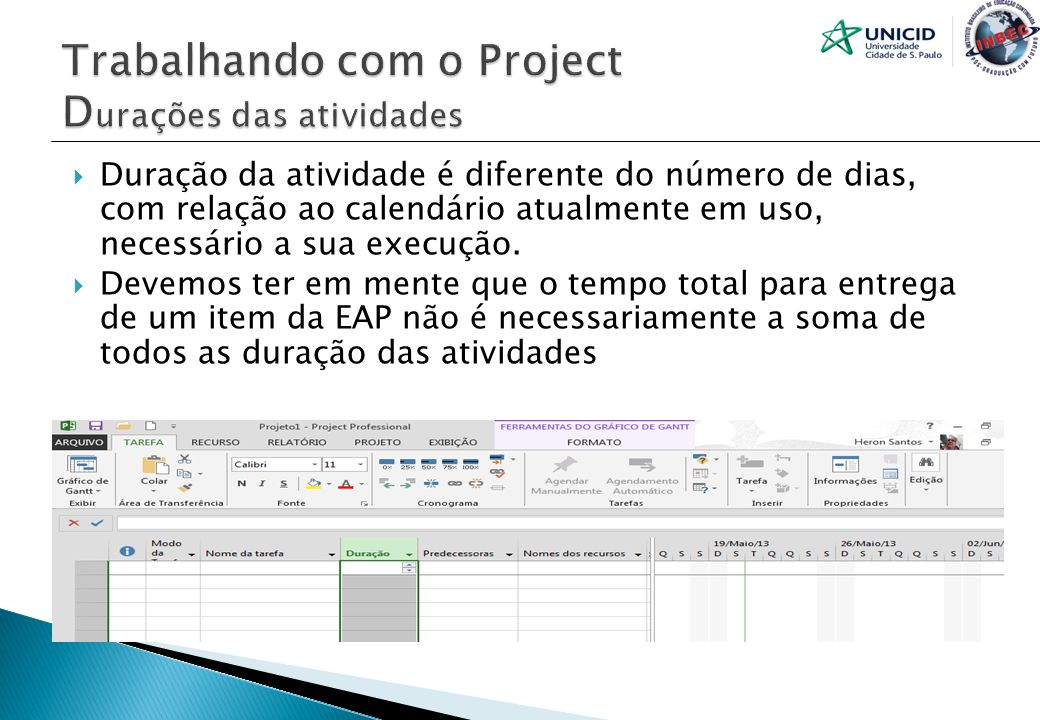 Trabalhando com o Project Durações das atividades
