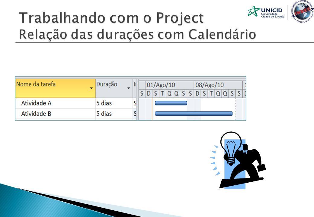 Trabalhando com o Project Relação das durações com Calendário
