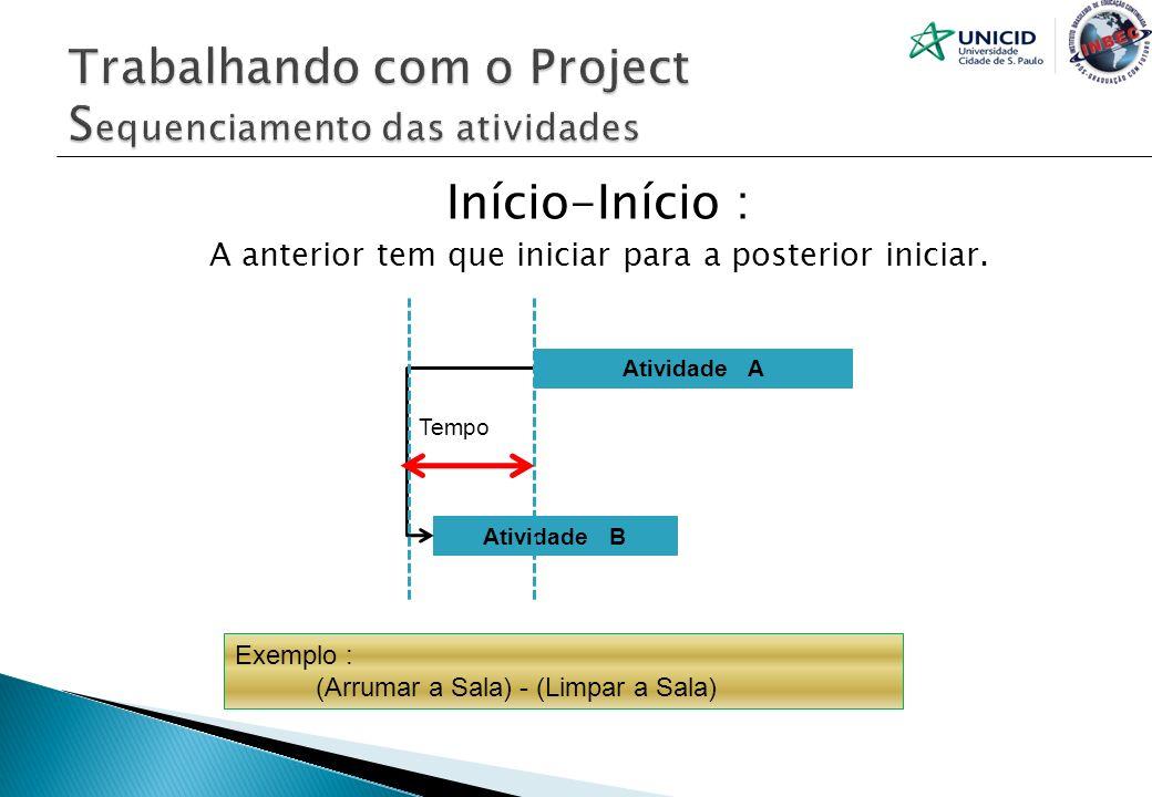 Trabalhando com o Project Sequenciamento das atividades