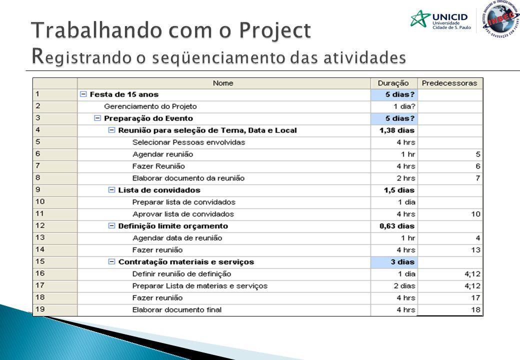 Trabalhando com o Project Registrando o seqüenciamento das atividades