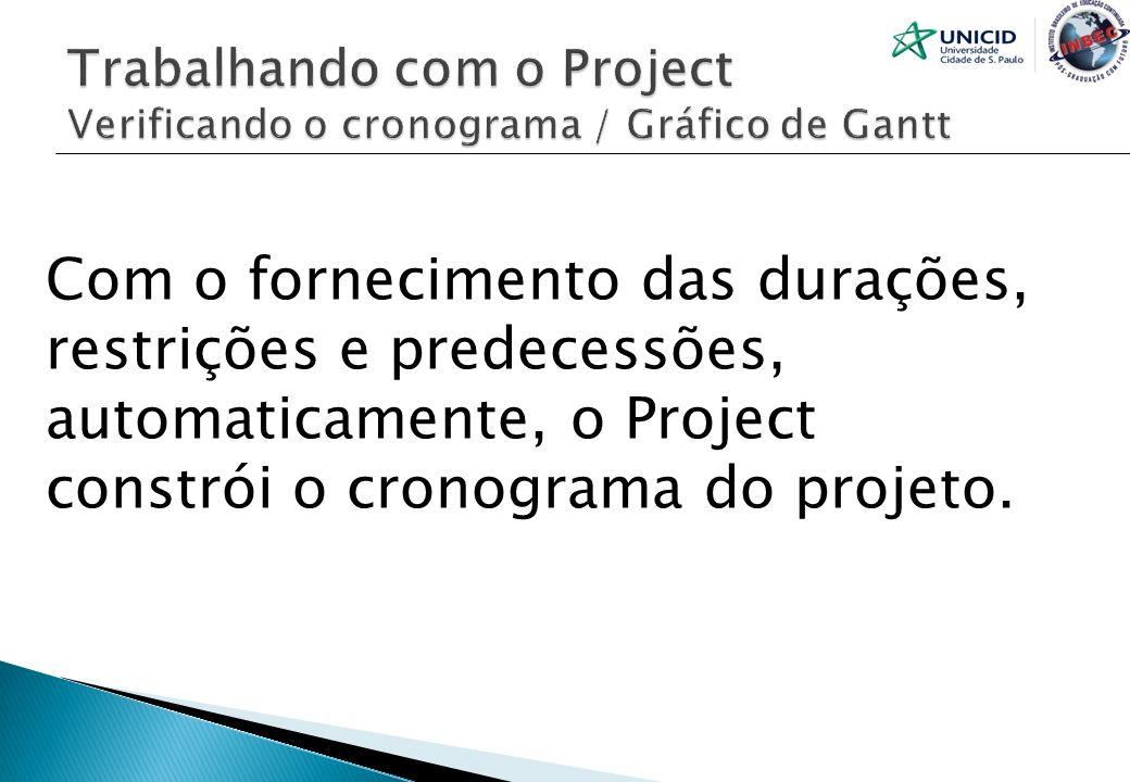 Trabalhando com o Project Verificando o cronograma / Gráfico de Gantt