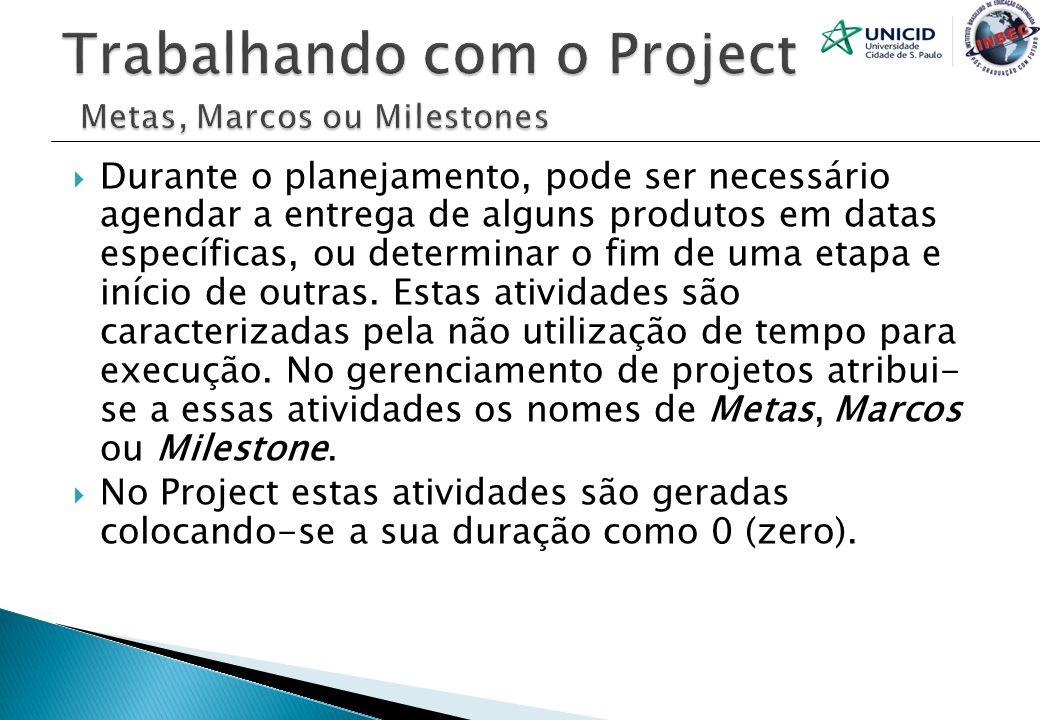 Trabalhando com o Project Metas, Marcos ou Milestones