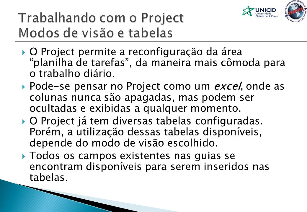 Trabalhando com o Project Modos de visão e tabelas