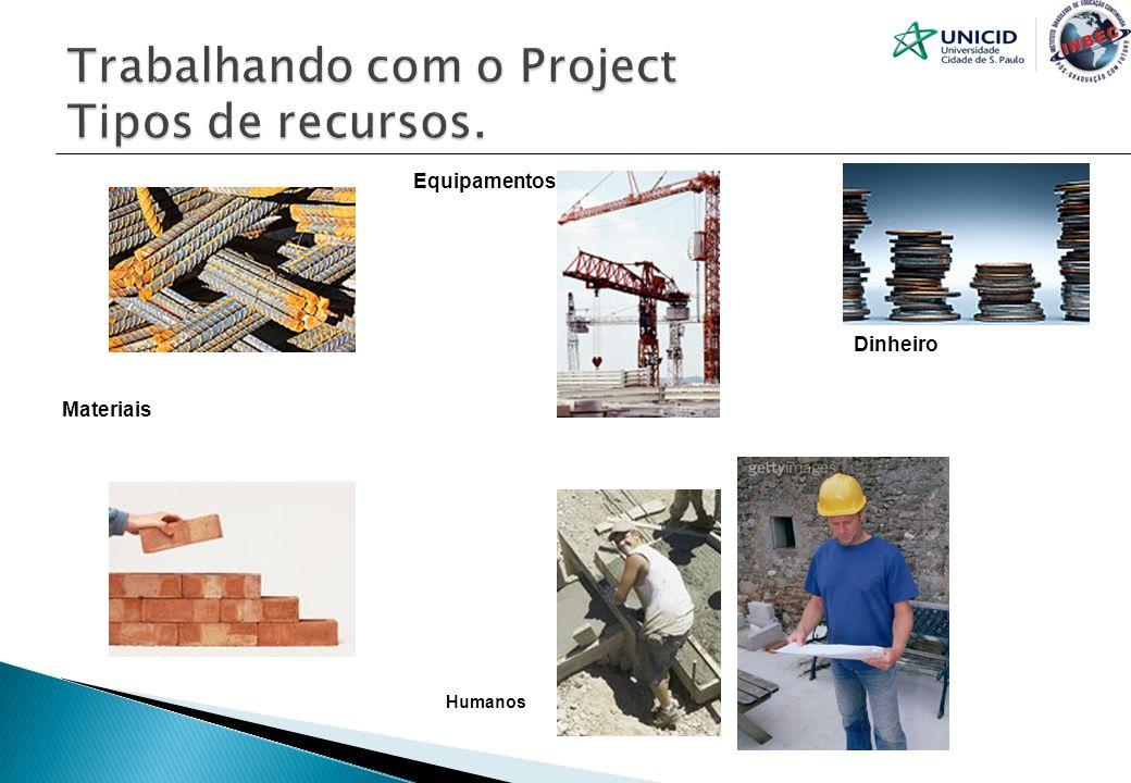 Trabalhando com o Project Tipos de recursos.