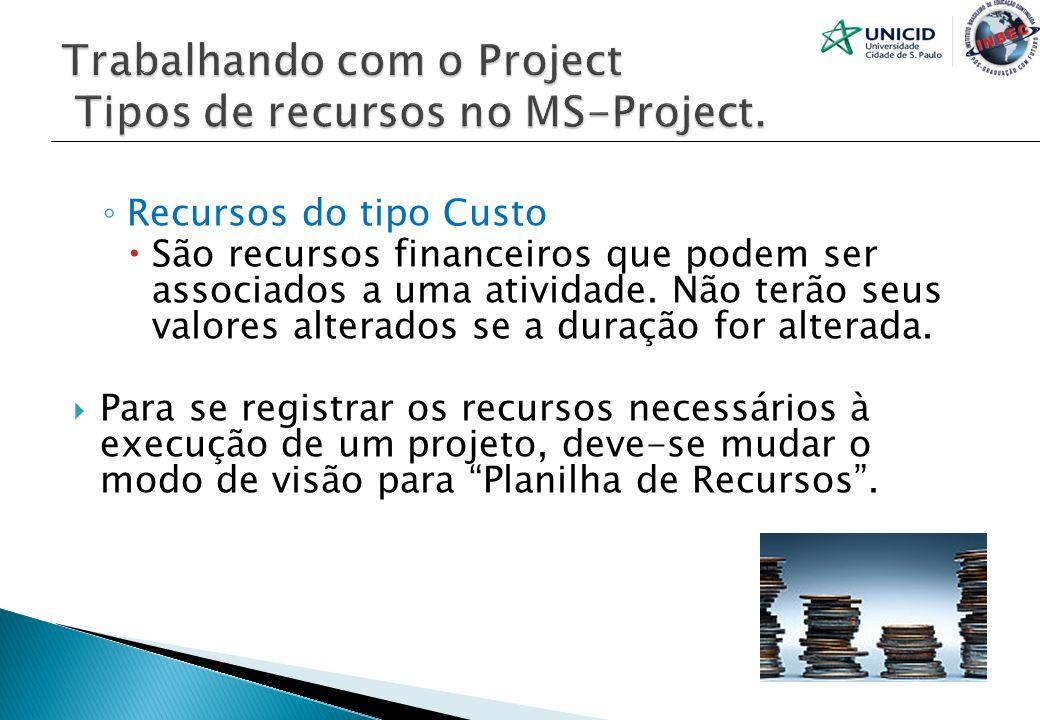 Trabalhando com o Project Tipos de recursos no MS-Project.