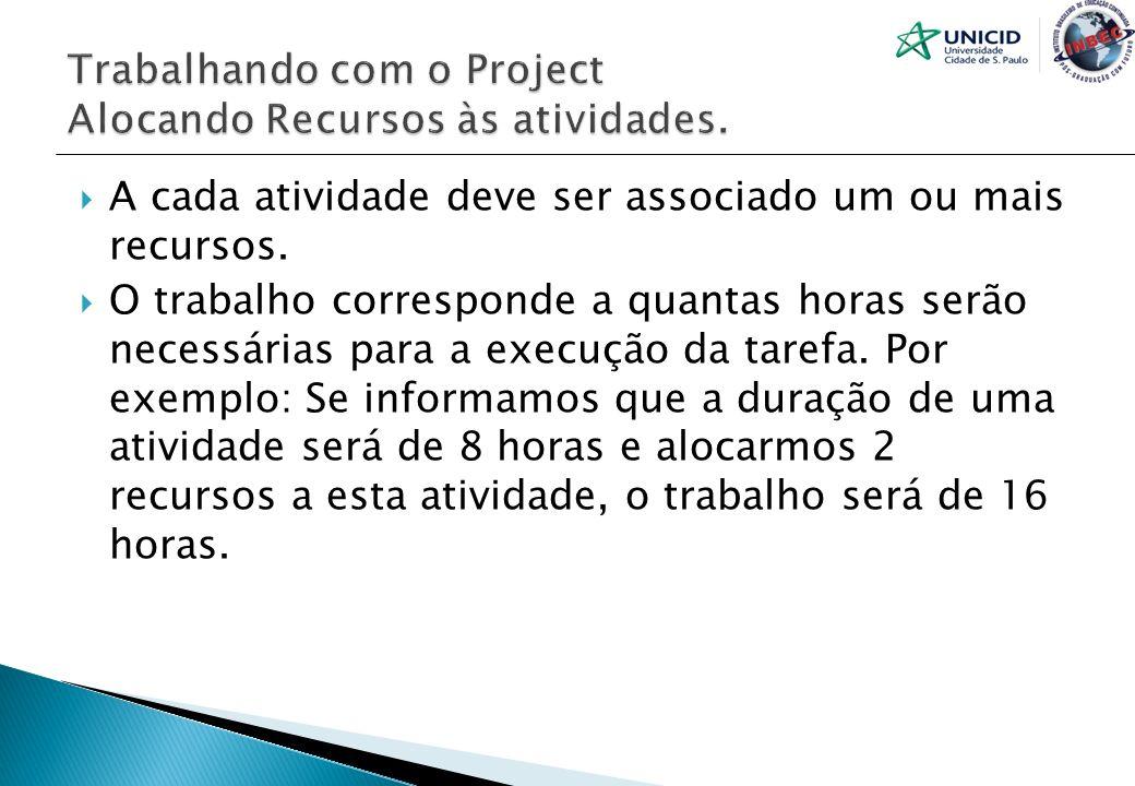 Trabalhando com o Project Alocando Recursos às atividades.