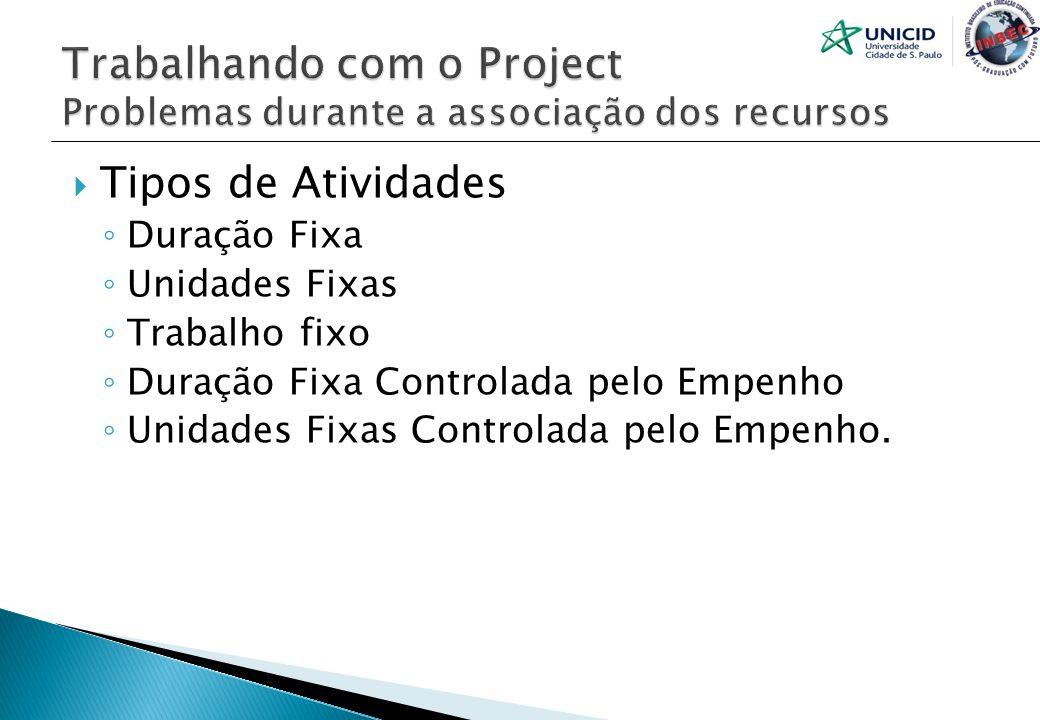 Trabalhando com o Project Problemas durante a associação dos recursos