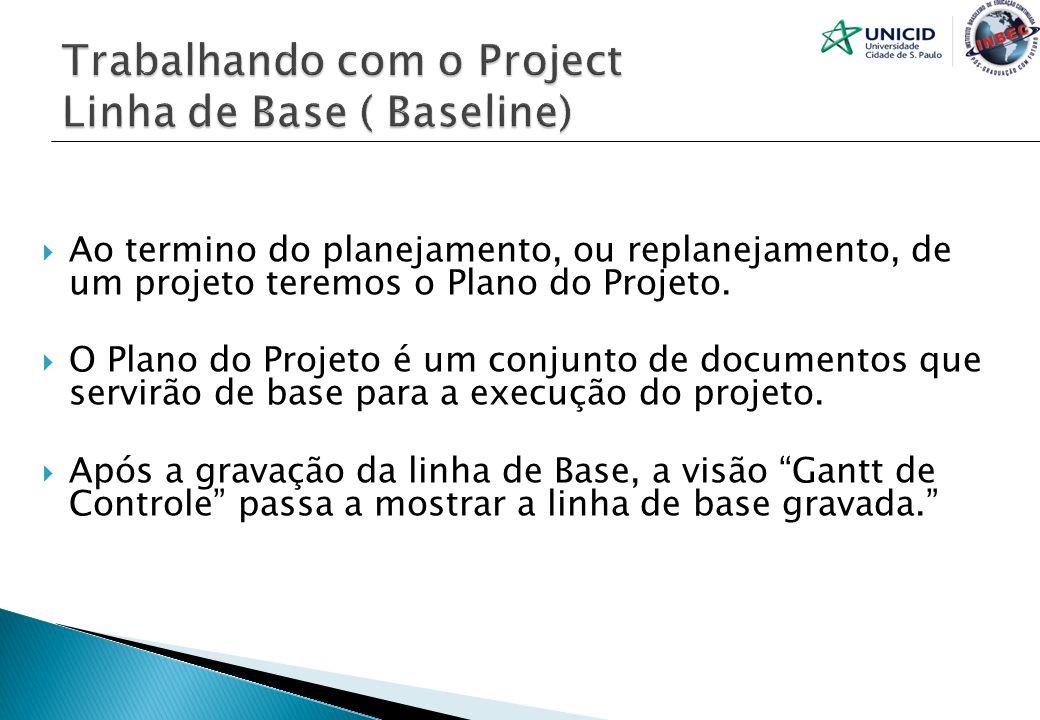 Trabalhando com o Project Linha de Base ( Baseline)