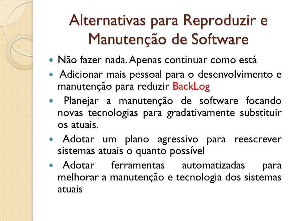 Alternativas para Reproduzir e Manutenção de Software