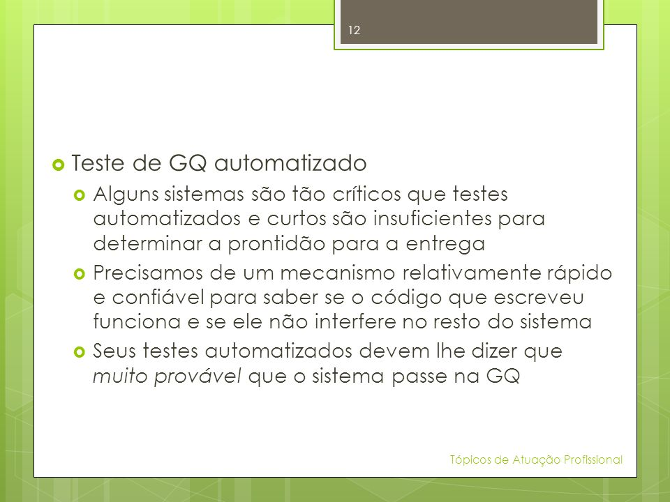 Teste de GQ automatizado