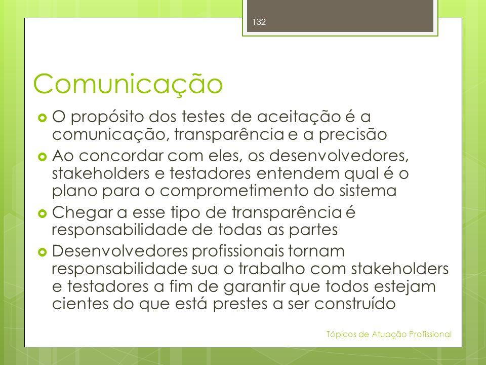 Comunicação O propósito dos testes de aceitação é a comunicação, transparência e a precisão.