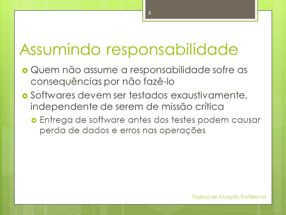 Assumindo responsabilidade