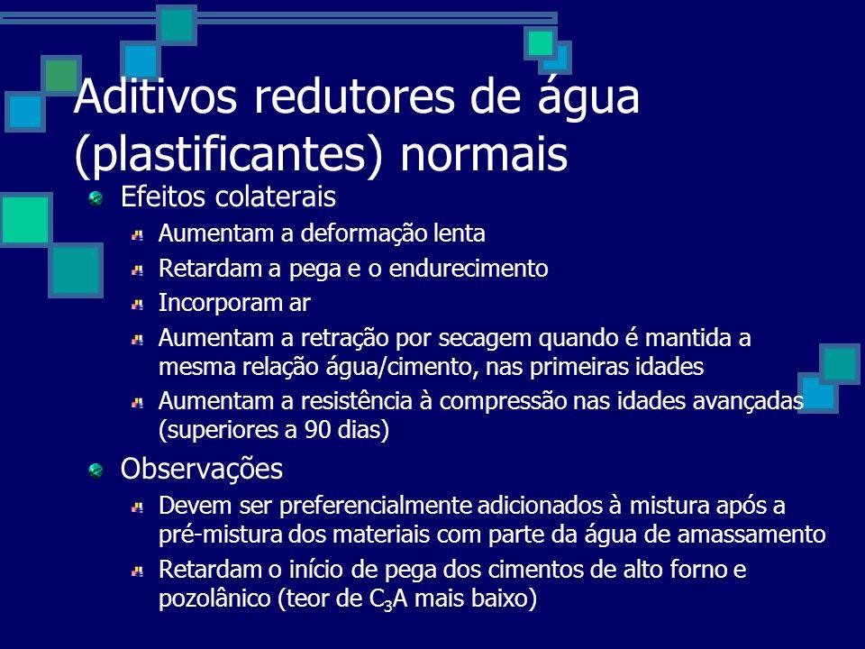 Aditivos redutores de água (plastificantes) normais