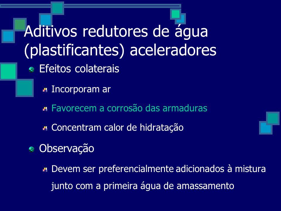 Aditivos redutores de água (plastificantes) aceleradores