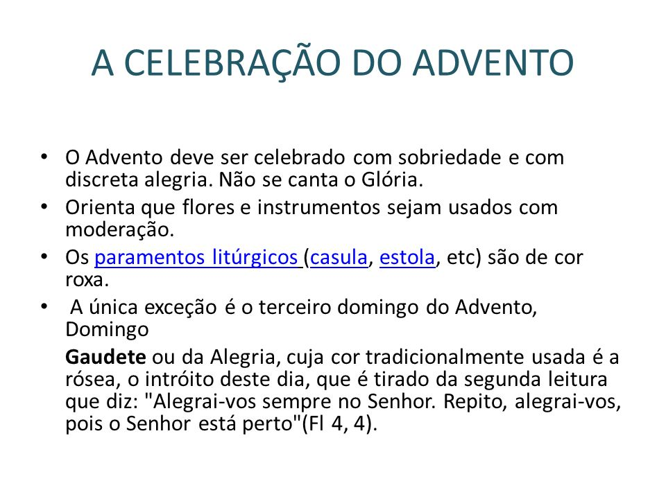 A CELEBRAÇÃO DO ADVENTO