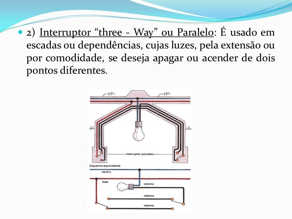 2) Interruptor three - Way ou Paralelo: É usado em escadas ou dependências, cujas luzes, pela extensão ou por comodidade, se deseja apagar ou acender de dois pontos diferentes.